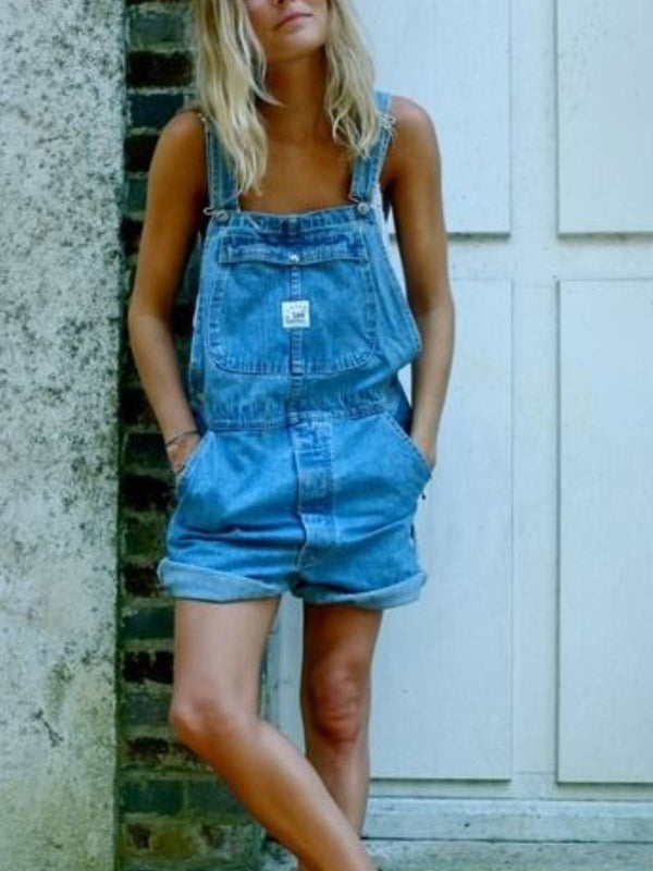 Blue Casual Denim One-Pieces