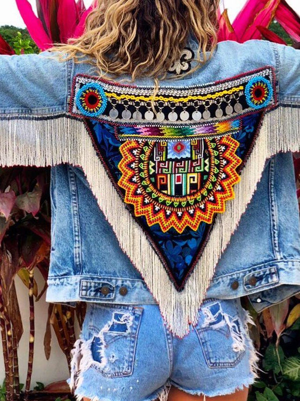 Boho Embellished Denim Coat