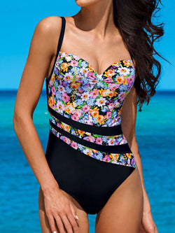 Sexy Black Floral Printed Push Up One Pieces Swimwear