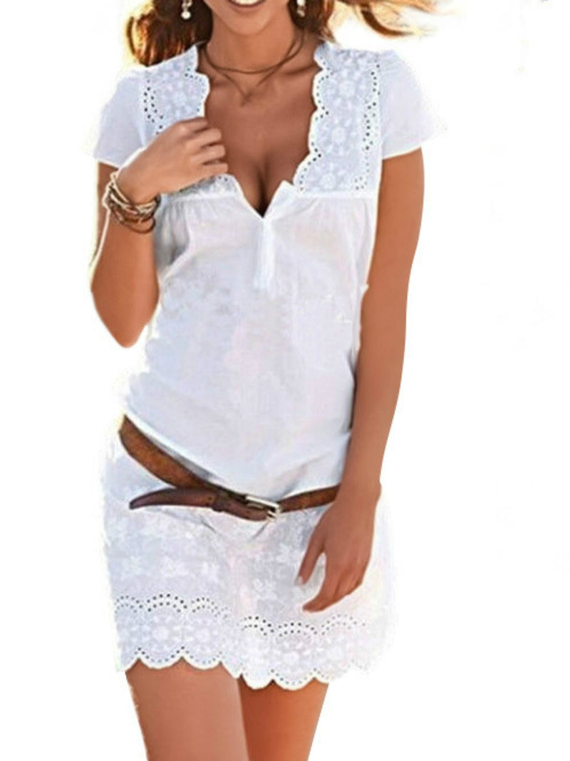 Women's Lace Cutout Fashion White Sexy Dress