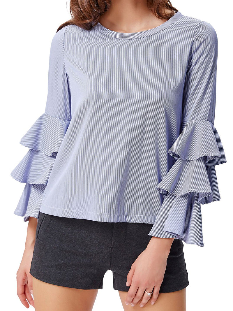 Frill Sleeve Cotton&Linen Ombre/tie-Dye Casual Shirts & Tops