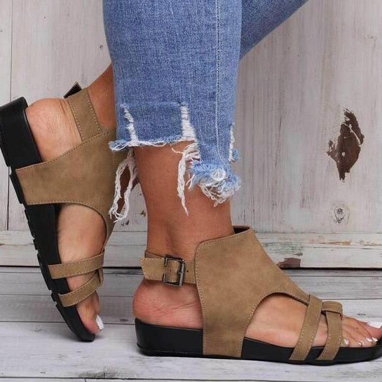 Summer Casual Flat Heel Leather Sandals