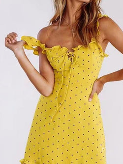 Printed Dip-Dyed Spaghetti Polka Dots Yellow Club Sexy Dresses
