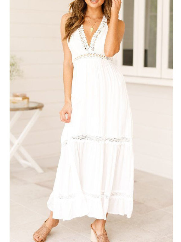 Summer V Neck Hollowed Cotton Dresses