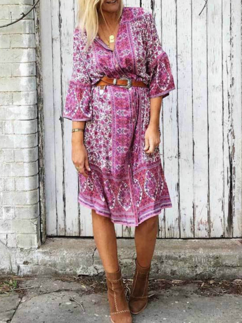 V-neck buttoned floral printed dress