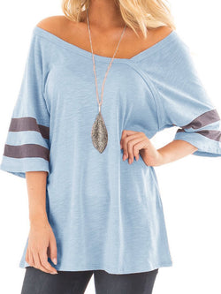 Off Shoulder Cotton Solid Short Sleeve Shirts & Tops