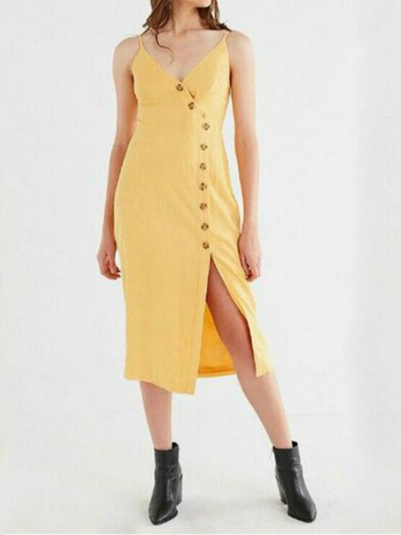 High-waisted sling single-breasted dress