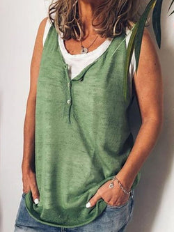 Cotton V Neck Buttoned Sleeveless Shirts & Tops