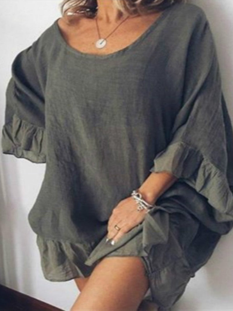 Solid stitching ruffled sleeves loose long T-shirt