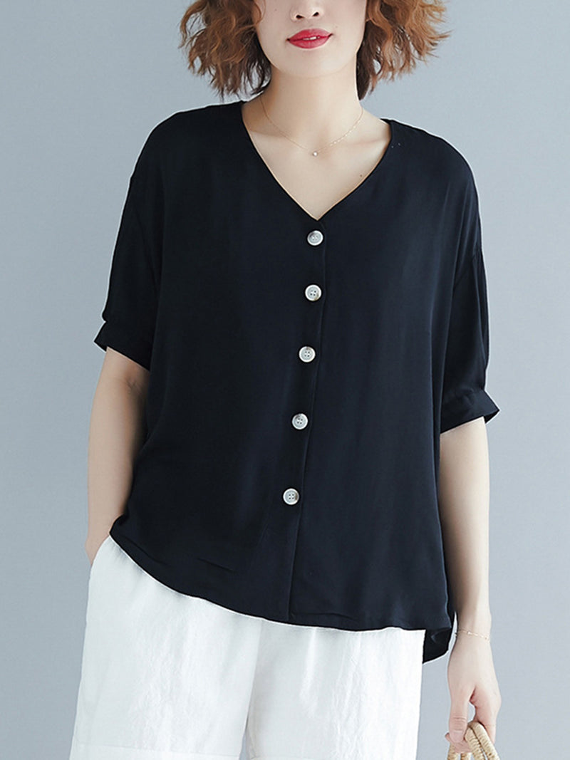 Women Cotton Casual V Neck Blouses Shirts