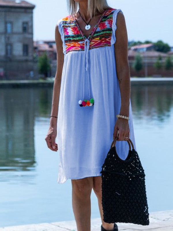 Patchwork Sleeveless Boho Cotton-Blend Dresses