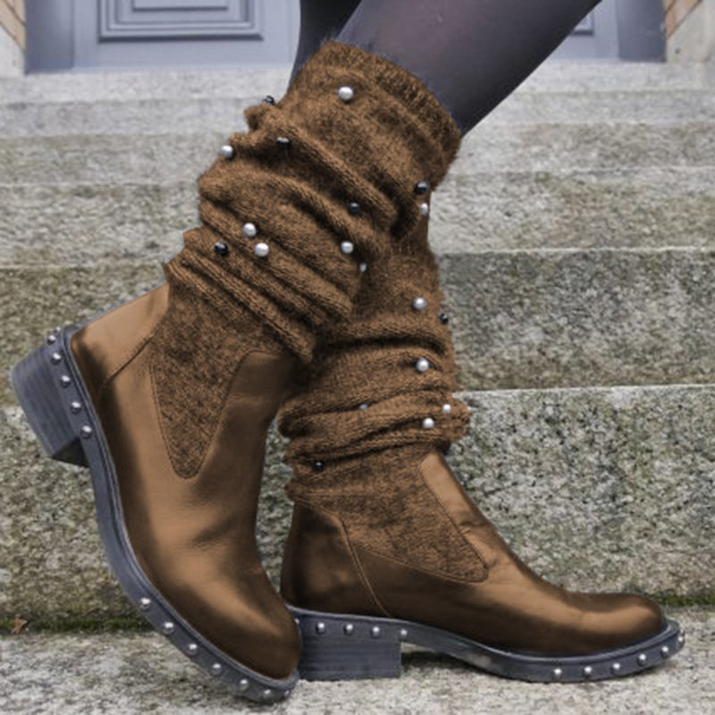 Women Slide Sweater Boots Chunky Heel Imitation Pearl Casual Shoes
