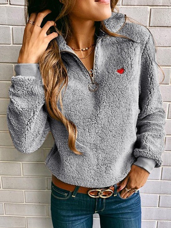 Zipper Long Sleeve Solid Stand-Up Neck Heart Winter Sweatshirts Hoodie