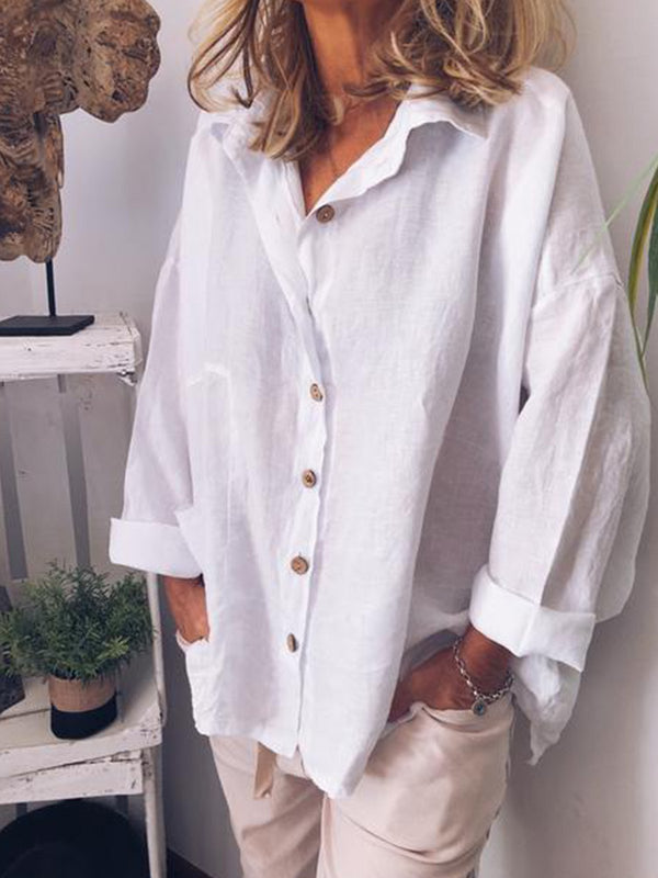 Casual V Neck Loose Shirt Tops Tunic Blouse
