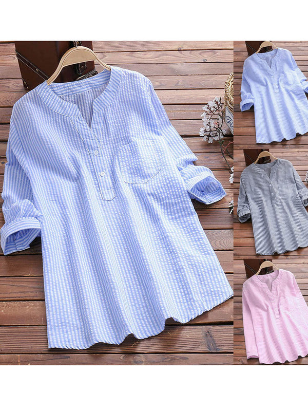Casual Striped Blouses Long Sleeve Cotton Shirts