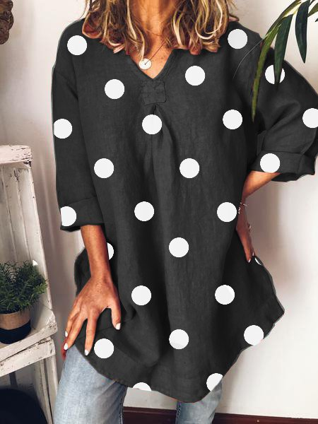 V Neck Polka Dot Tunic Shirts