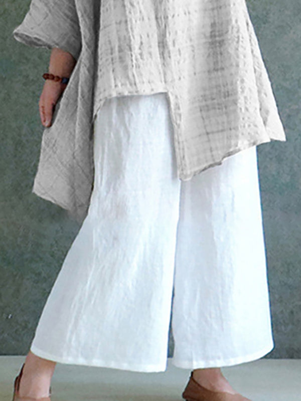 Solid Casual Linen Cotton-blend Plus Size Pants