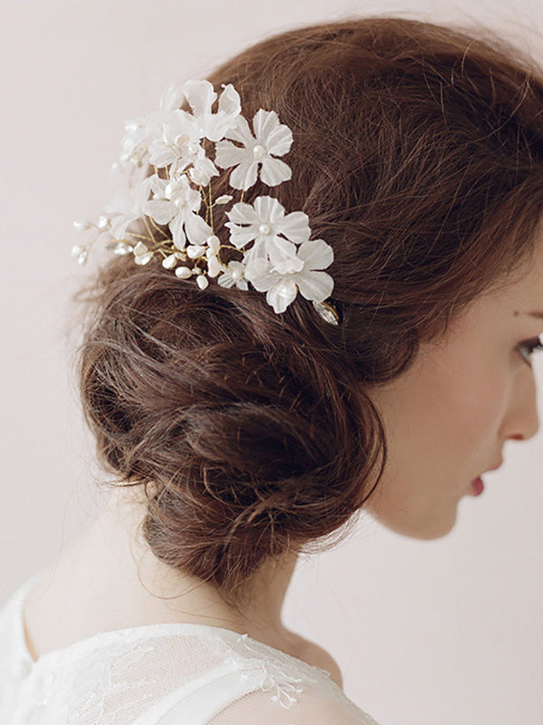 Wedding Cocktail Wear White Applique Headdress