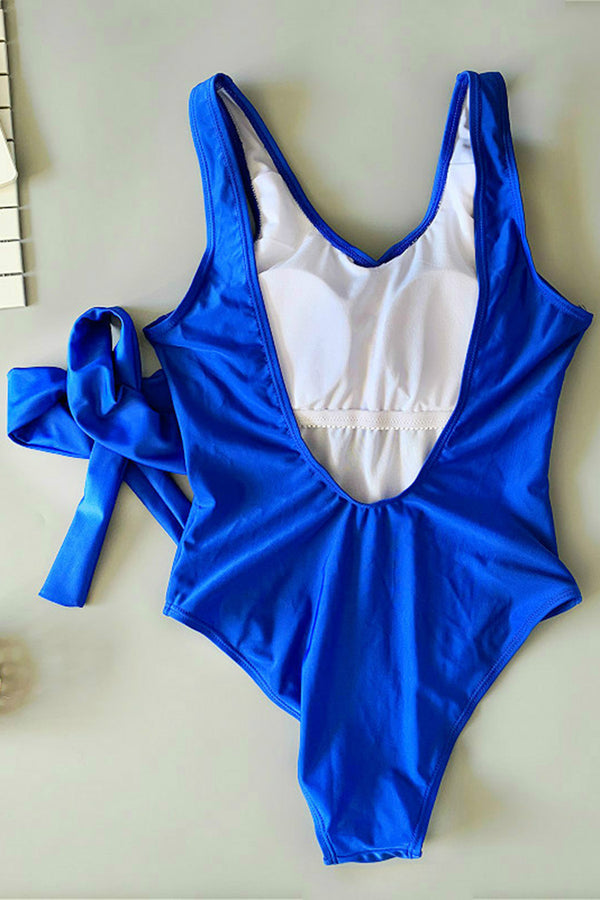 Solid Color Backless Bowknot One-piece Swimsuit