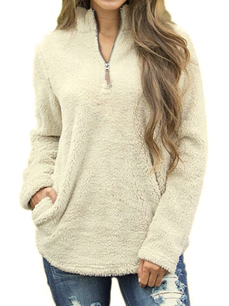 Solid Long Sleeve Zipper V neck Winter Sweater
