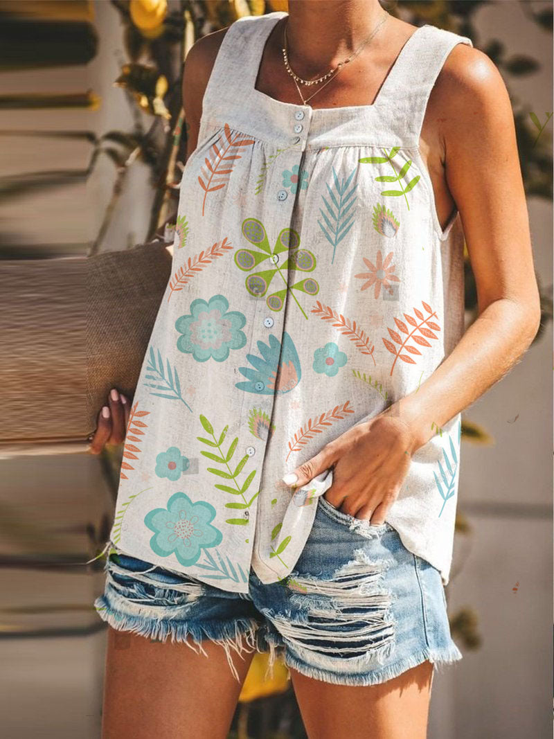 Cotton-Blend Flora Casual A-Line T-Shirt