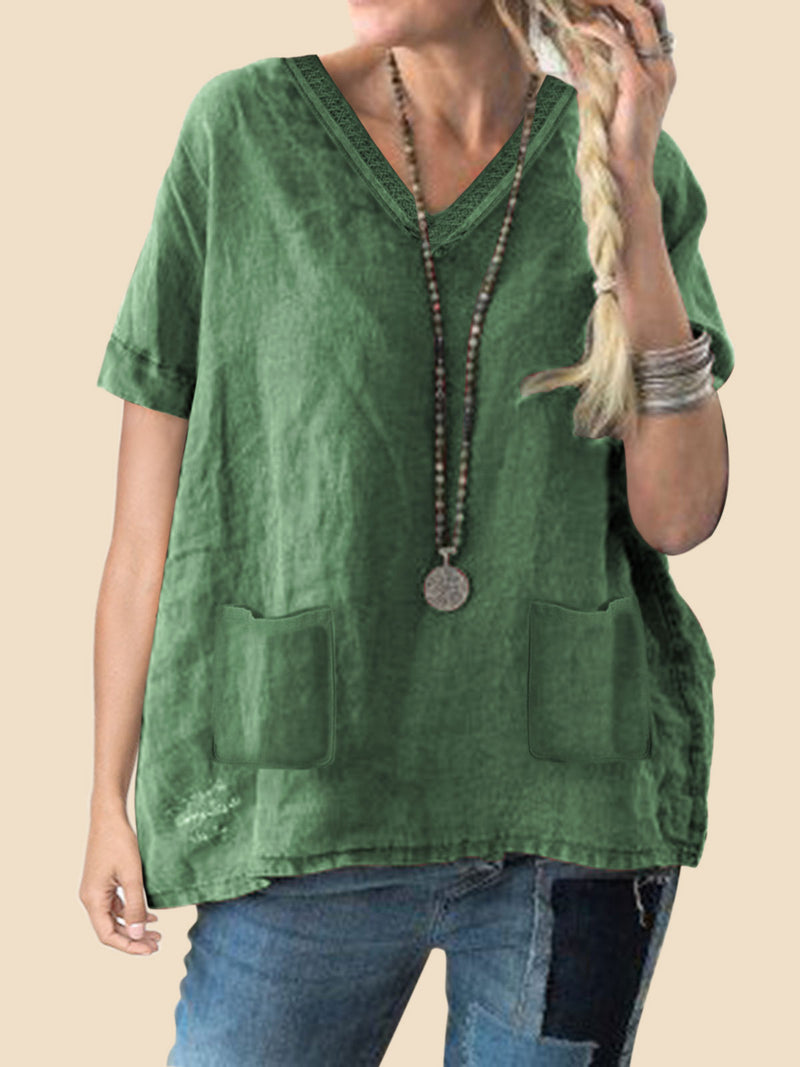 Short Sleeve V Neck Solid Casual Blouse