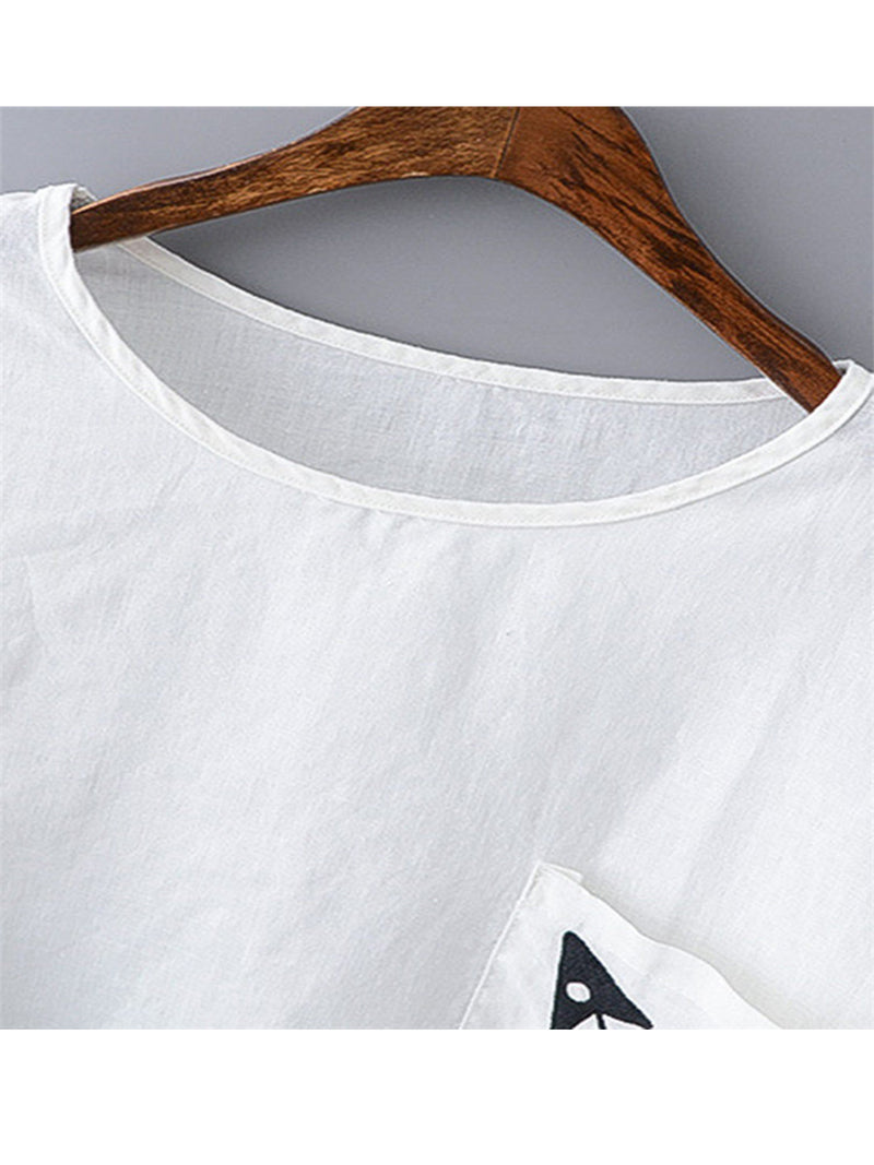 White Round Neck Printed/dyed Short Sleeve Shirts & Tops