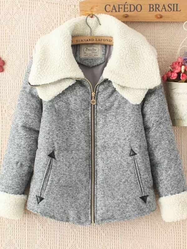 Double Lapel Long Sleeve Cotton Pockets Outdoor Coat
