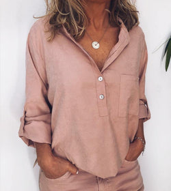 Plus Size Casual Solid V Neck Long Sleeve Pockets Tops