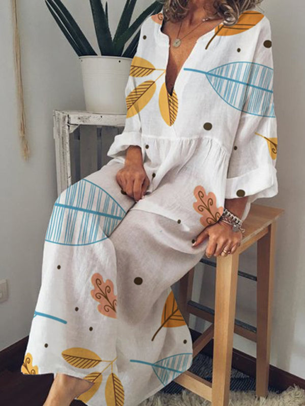 Casual Printed V-neck Long Sleeve Dress