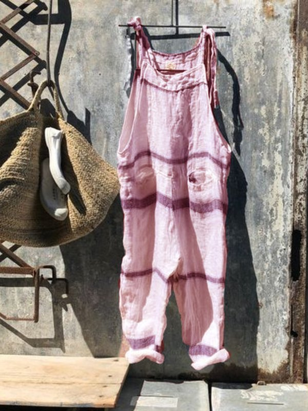Cotton-Blend Striped Casual Daily Jumpsuits