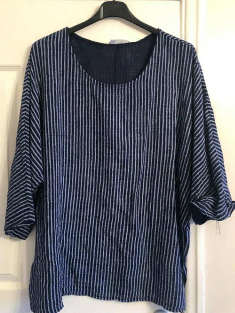Casual Crew Neck Striped 3/4 Sleeve Blouse
