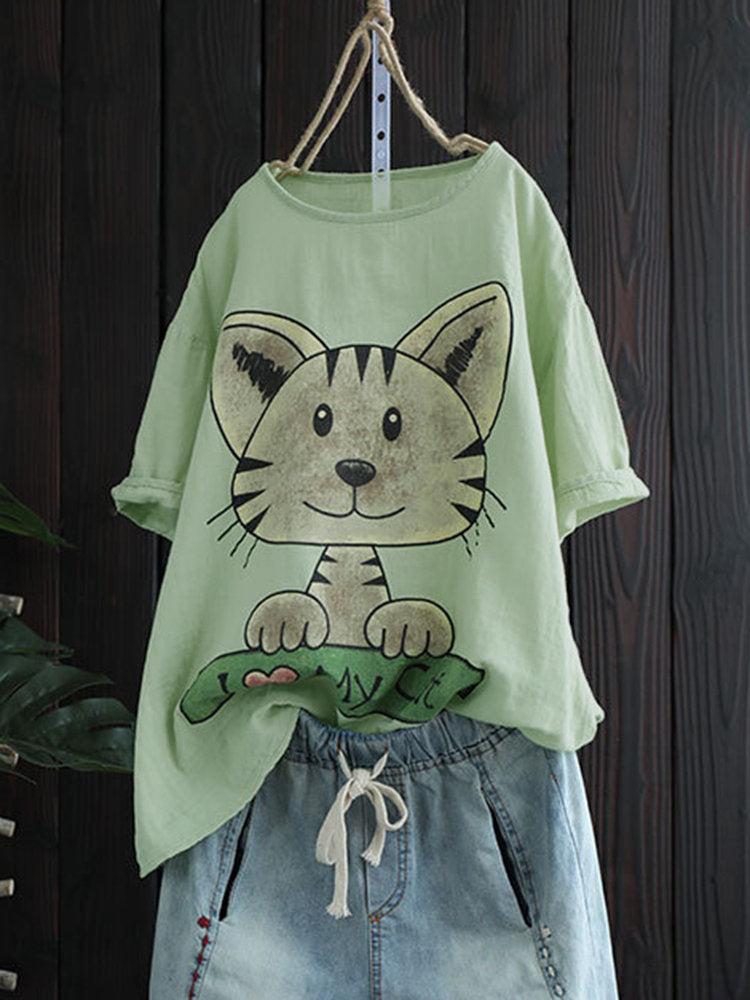 Women Summer Short Sleeve Casual Animal Shift Tops