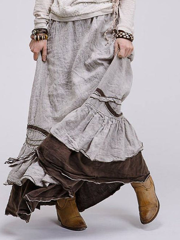Gray Cotton Casual Skirts