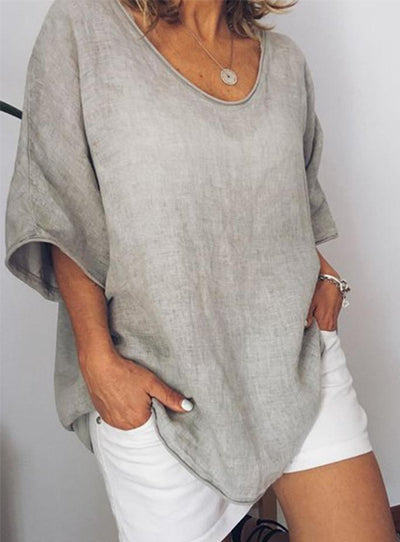 Gray Crew Neck Solid Linen Casual Shirts & Tops