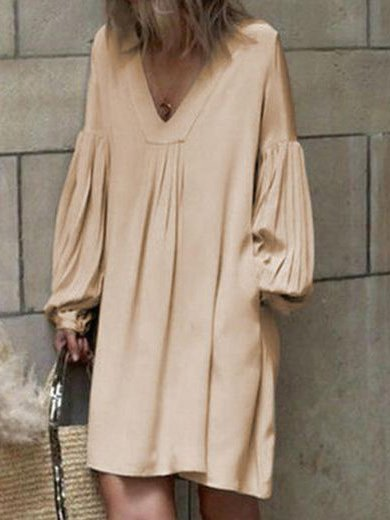 Balloon Sleeve V Neck Cotton-Blend Solid Dresses