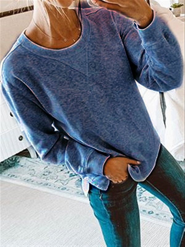 Autumn Casual Basic Daily Cotton Long Sleeve Crew Neck Top