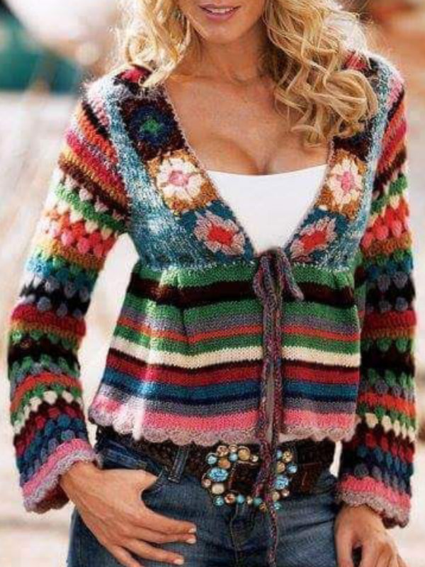 Multicolor V Neck Long Sleeve Knitted Outerwear