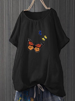 Butterfly Printed Short Sleeve Shirts