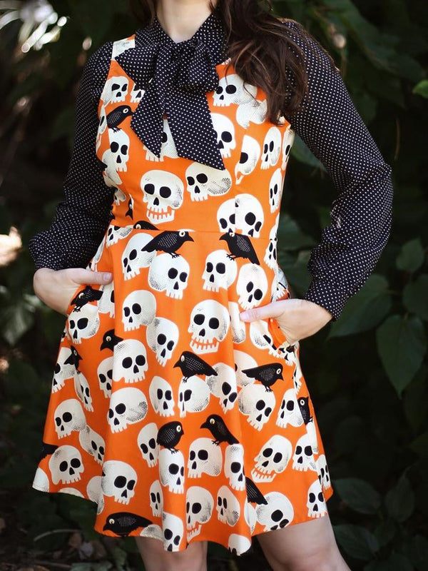 Orange Floral-Print Short Sleeve Animal Swing Dresses