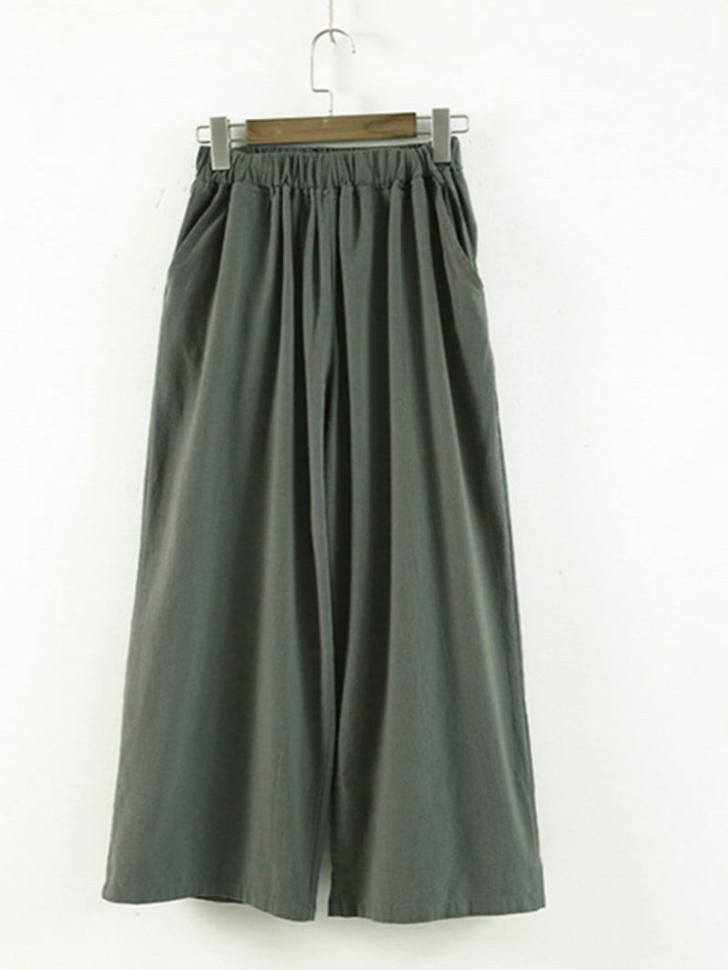 Linen Solid Pockets Casual Wide-Leg Pants