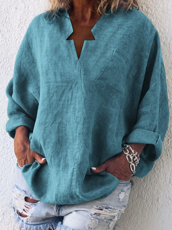 Casual Long Sleeve Cotton-Blend Plain Blouses