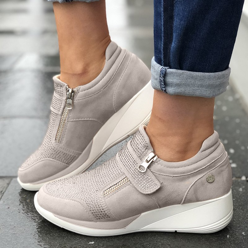 Artificial Suede Low Heel Slip-on Sneakers