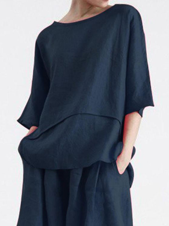 Crew Neck 3/4 Sleeve Cotton Shirts & Tops>>blouse