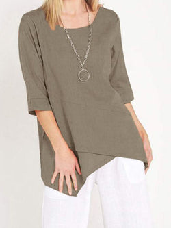 Solid Casual Cotton Half Sleeve Shirts & Tops
