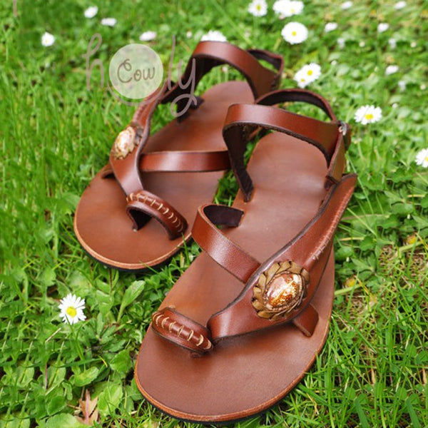 Brown Summer Pu Flat Heel Daily Shoes
