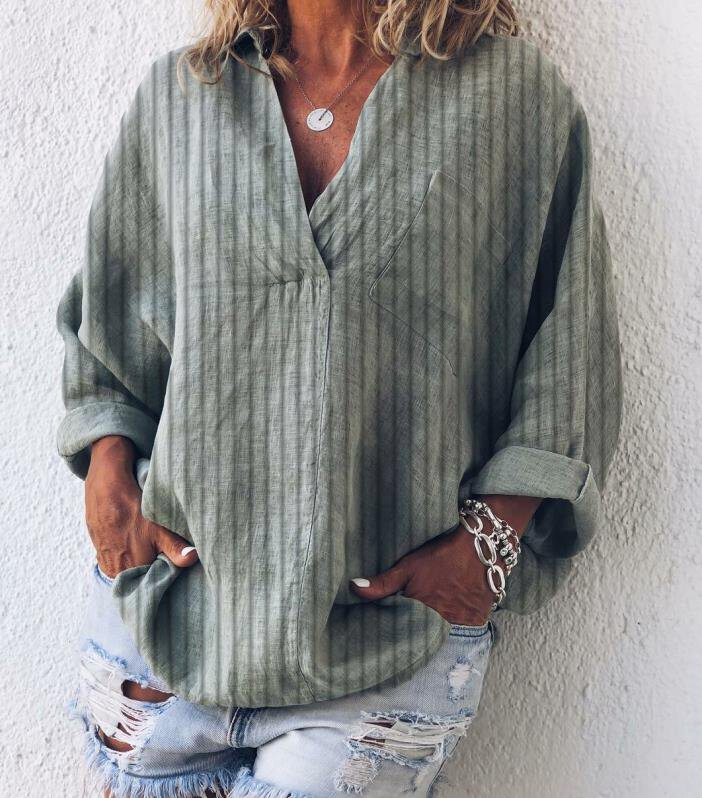 Striped Plus Size Casual V Neck Long Sleeve Tops