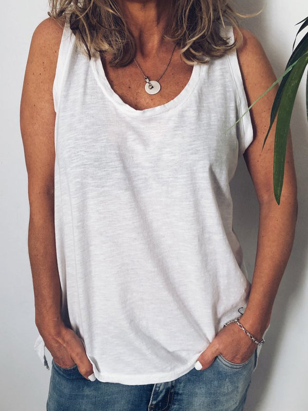 Summer Crew Neck Sleeveless Casual Tanks