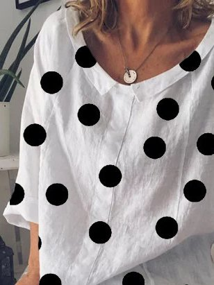 Polka Dot Printed Long Sleeve Shirts