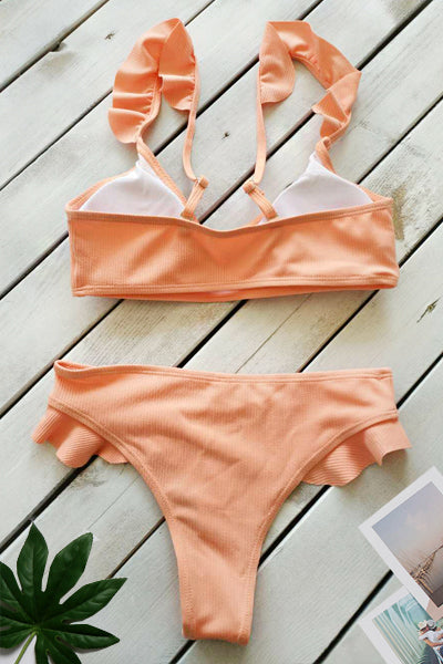 Solid Color Ruffled Knitted Sexy Bikini Set